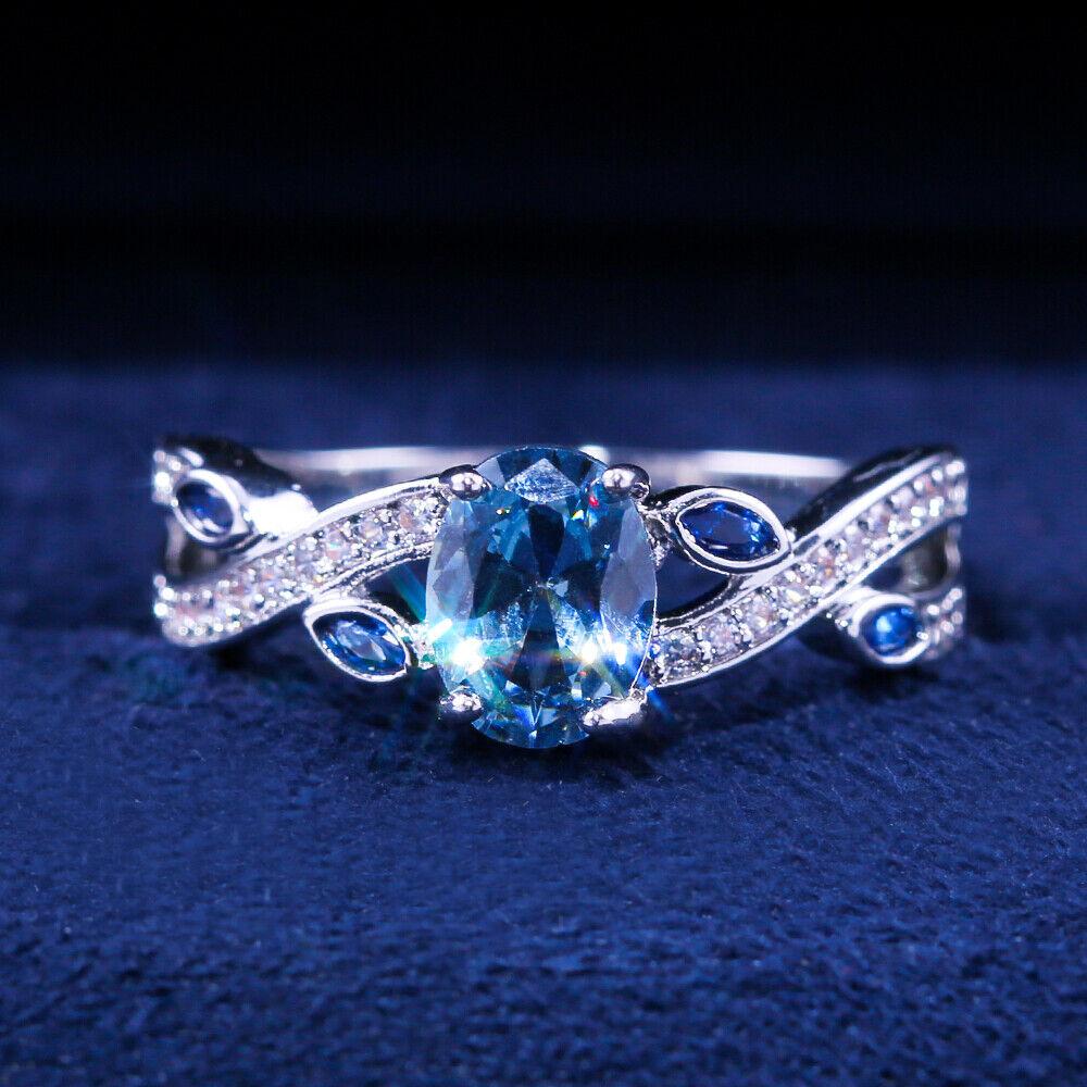 Romantic Oval Cut Aquamarine Women Wedding Jewelry 925 Silver Rings Size 6-10