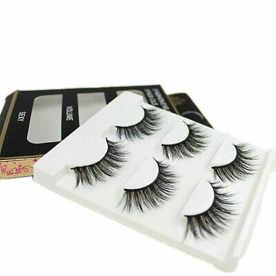 3 Pairs  3D Mink Makeup Cross False Eyelashes Eye Lashes Handmade Eyes