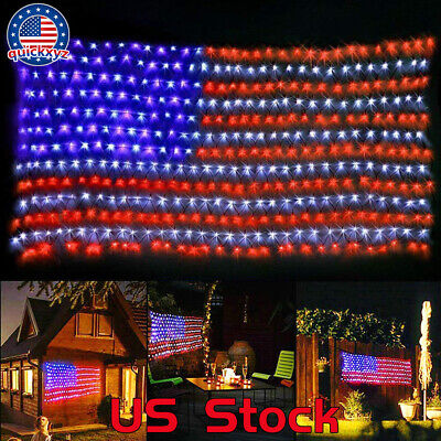 Waterproof Hanging Ornament Timer Function Large USA Flag Net Light LED Party US](Halloween Kitchen Timer)