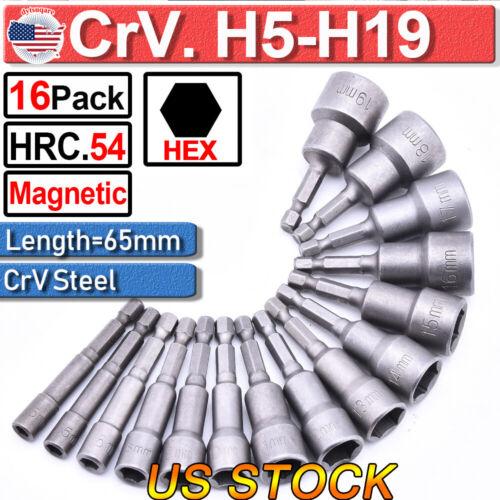 1//4 Hex Shank Magnetic Hec Bit 5 Pc Impact Hex Chuck Nut Driver Bit 8mm 5//16