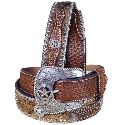 Western Cowboy Belt Nocona Hair Star Concho Brown Leather 34-46 Ines U-6808 34 Brown Western Belts