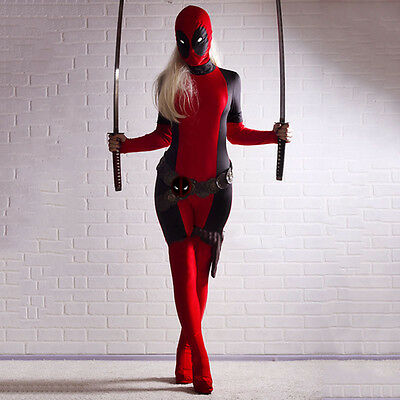 Sexy Cool Lady Deadpool Costume Spandex Women Red Fullbody Superhero Cosplay