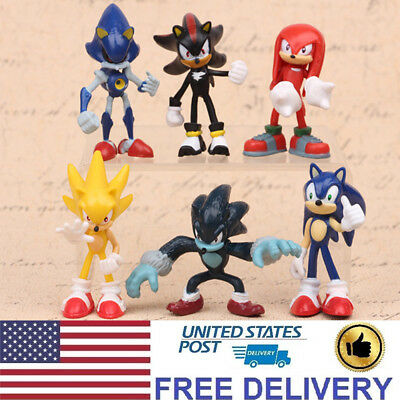 Sonic The Hedgehog Shadow Knuckles Character 6 Pcs Action Figure Kids Gift Toys