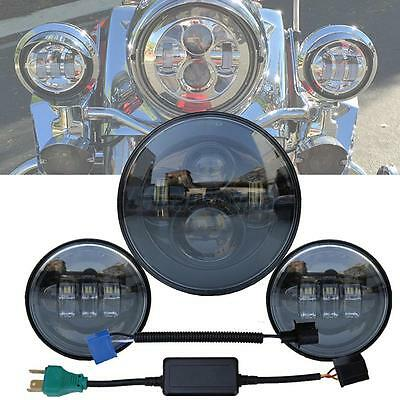 "7"" New Led Projector Daymaker Headlight + Passing Lights For Harley Touring BLK"