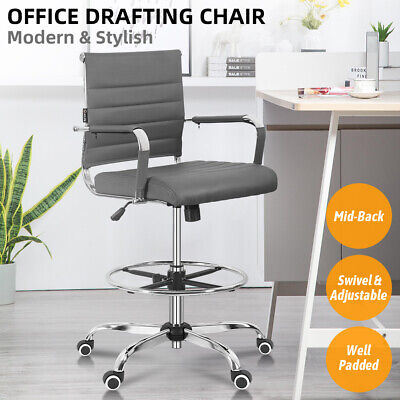 Office Drafting Chair Mid Back Ergonomic Computer Desk Stool Adjustable Swivel