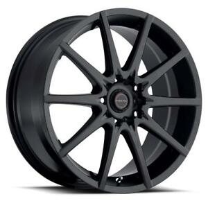 "17"" Ultra Wheel Set Honda Civic Accord Subaru Mazda 3 Nissan Hyundai 5x114.3 / 5x100 +42mm Black Mag Noir Rims Wheels"