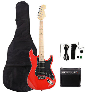New 22 Frets ST Burning Fire Electric Guitar Red with Bag & 15 AMP