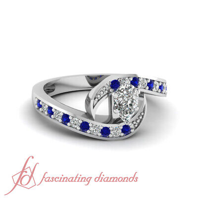 1.30 Ct Pear Diamond And Blue Sapphire Intertwined Pave Set Engagement Ring GIA