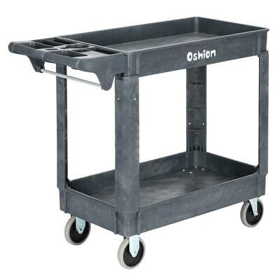 Plastic Utility Service Cart 500 Lbs 250kg Capacity 2 Layers Rolling 40x17x33