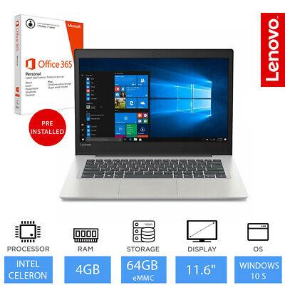 "Lenovo Ideapad S130 11.6"" Light Weight Laptop Intel Celeron 4GB 64GB+ office 365"
