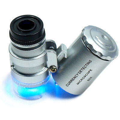 - Mini 60X Jewelers Loupe / Magnifier with LED & Fluorescence Ultra Violet Lights