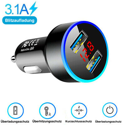 Zigarettenanzünder 2 USB Ladegerät KFZ LKW Auto Ladeadapter Handy iPhone Samsung