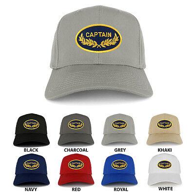 Captain Oval Shape Oak Leaf Military Embroidered Patch Adjustable Baseball Cap ()