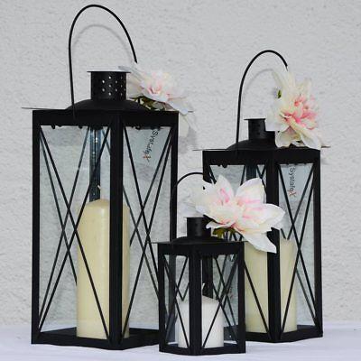 Systafex Laterne Gartenlaterne Schwarz Kerzenhalter Gartenlampe 36 30 17 cm Set