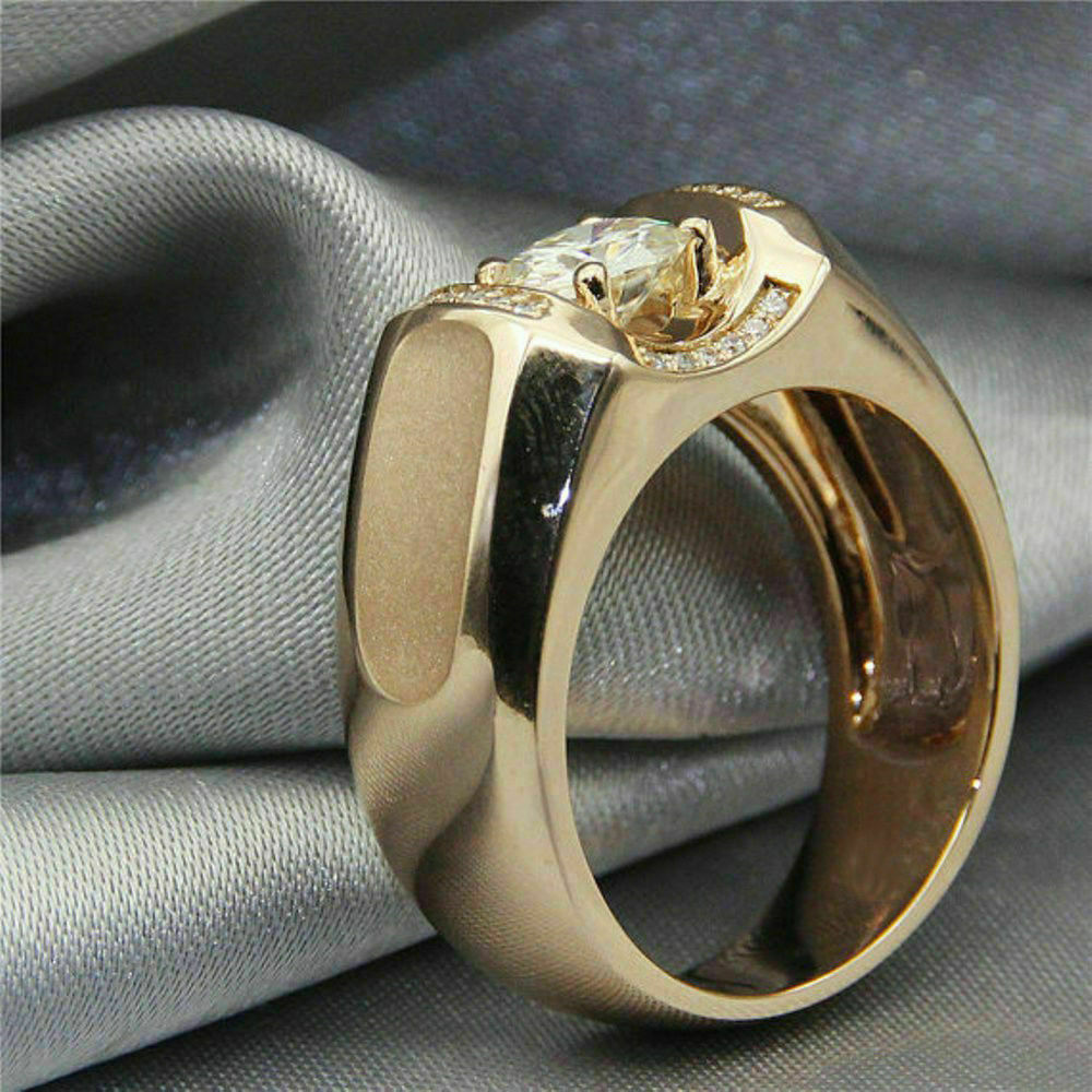 1.75 Ct Round Cut Diamond Mens Engagement Ring Wedding Band 14K Yellow Gold Over 3
