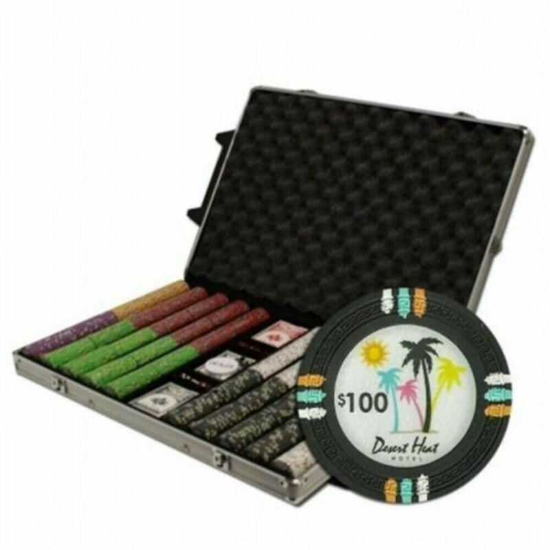 "Holdem Poker Chip Set Claysmith  ""Desert Heat"" 1000 Count 13.5g Aluminum Case"