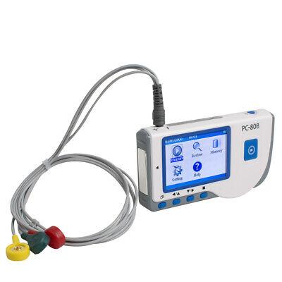 Portable Handheld Ecg Ekg Monitor Patient Heart Rate Machinedata Cable Pc-80b
