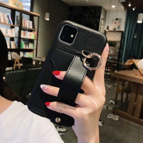 For iPhone 11 XS MAX XR 6 7 8 Grip Strap Leather Case Cover