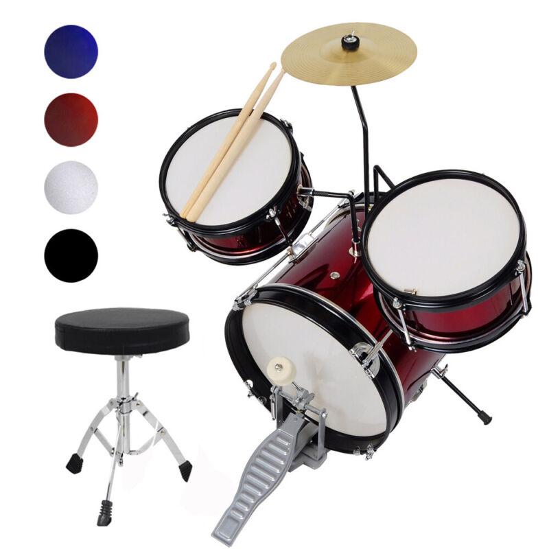 "Complete Kids Gift 3 Piece 12"" Junior Drum Set Cymbal Kit w/ Stool Pedal Sticks"