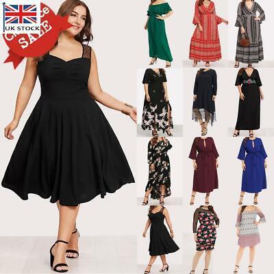 Plus Size Women Ladies Summer Holiday Short/Long Sleeve Long/Midi Dress Sundress