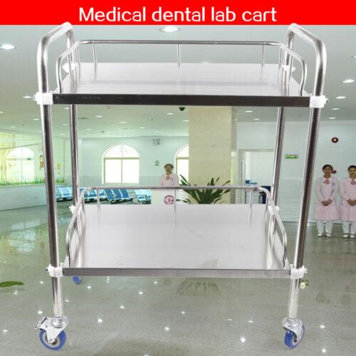 Metal Medical Dental Lab Mobile Cart Trolley Omnidirectional Lockable 2 layer