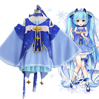 VOCALOID 2017 Snow Miku Hatsune Star Princess Dress Outfit Cosplay Costume Snow Princess Outfit