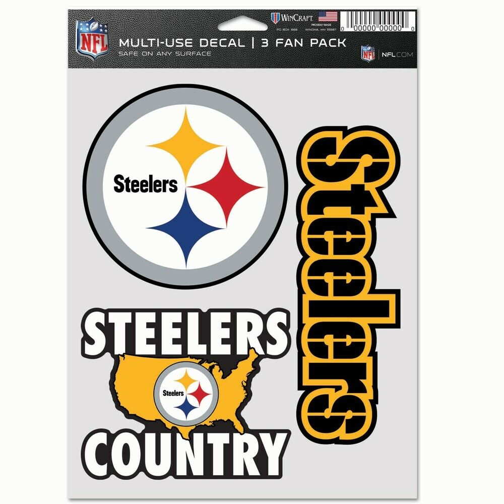PITTSBURGH STEELERS COUNTRY 3-MULTI USE DECALS FAN PACK WINC
