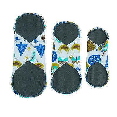 FEMININE CLOTH MENSTRUAL PADS PANTYLINER WASHABLE REUSABLE BAMBOO CHARCOAL (Reusable Cloth Menstrual Pads)