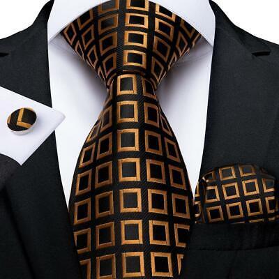 USA Black Gold Checks Silk Tie Set Mens Necktie Pocket Square Cufflinks Wedding Check Square Cufflinks