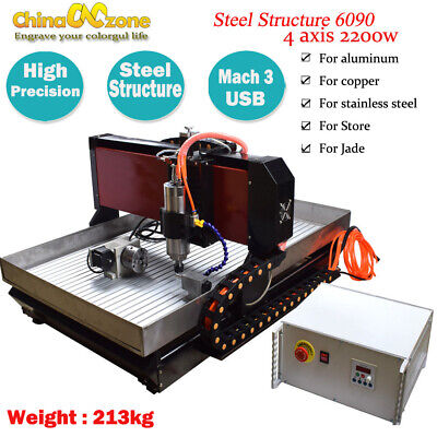 6090 Steel Cnc Router 4axis 2.2kw Mach3 Engraver Cutting Machine For Metal Brass