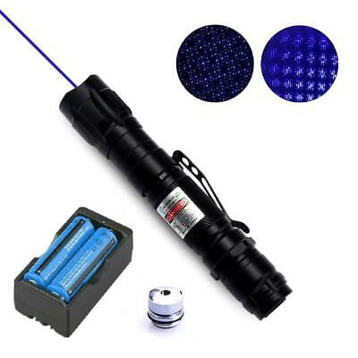 2in1 450nm Blue Purple Laser Pointer Pen Visible Beam Lazer Light+18650+Star Cap