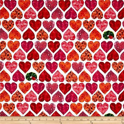 - The Very Hungry Caterpillar Fabric I Love You Large Hearts Premium Cotton
