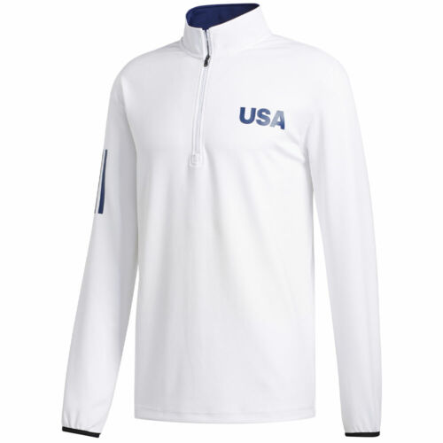 New Adidas USA Golf Lightweight Layering Pullover White Choose-Size-FREE SHIP