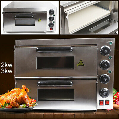 2000w Kitchen Pizza Oven Single Deck Toaster Bread Baking Ceramic Stone Oven