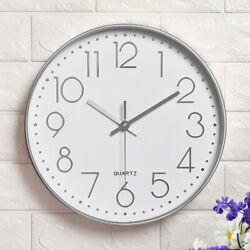 12 Round Modern Quartz Wall Clock Large Silent Non Ticking Arabic Numerals
