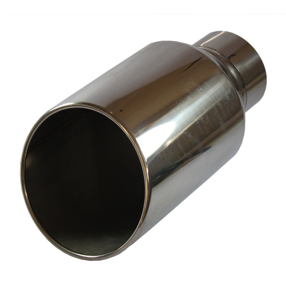 "Chrome 8/"" Outlet 5/"" Inlet  Stainless Steel 15/"" Long Bolt On Diesel Exhaust Tip"