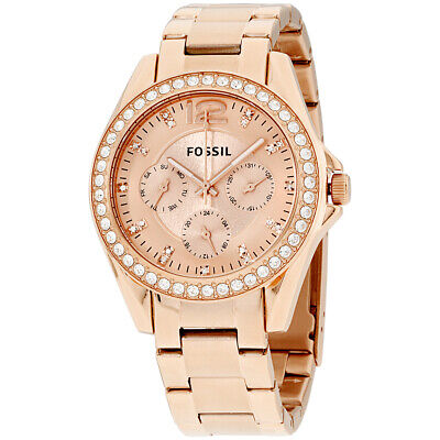 Fossil Riley Quartz Movement Rose Gold Dial Ladies Watch ES2811