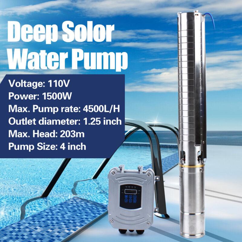 "4"" Submersible+MPPT Controller Kit Solar Water Pump 110V 1500W DC Deep Well Pump"