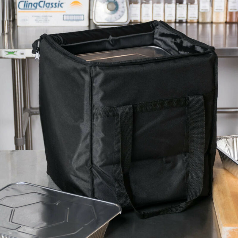 """Choice Insulated Food Delivery Bag, Black Nylon, 13"""" x 13"""" x 15 1/2"""""""