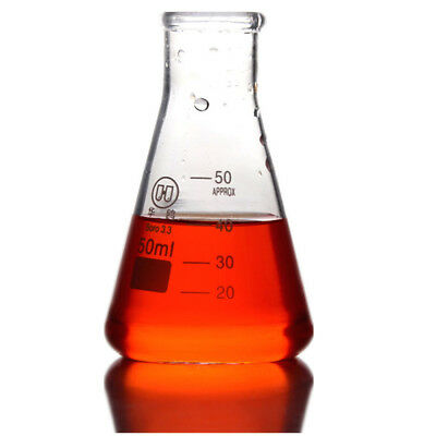 2Pcs 50ml,Glass Erlenmeyer Flask,Lab Chemistry Conical Bottle With Narrow -