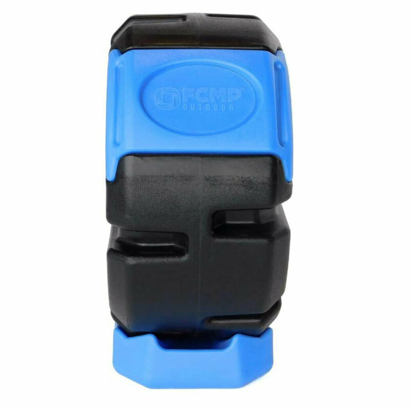 FCMP Outdoor Half Size 19 Gallon Plastic Rolling Composter Tumbler Bin, Blue