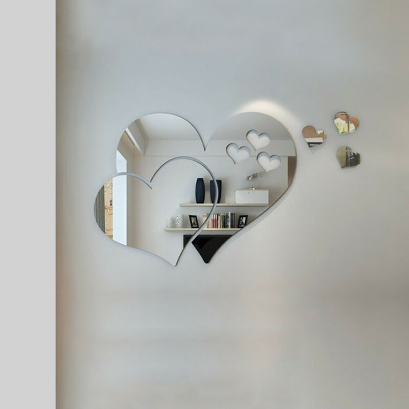 Home Decoration - 3D Mirror Love Hearts Wall Sticker Removable Decal DIY Home Room Decor Art Mural