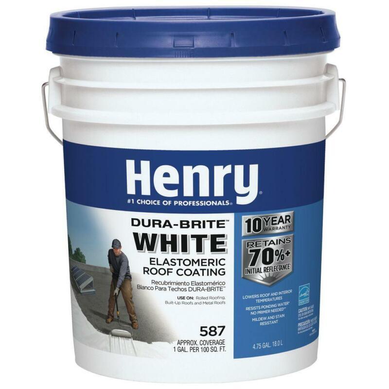 Henry Roof Coating 4.75 Gal. Acrylic Elastomeric High Reflectivity Extreme Heat