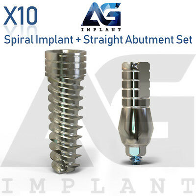 10 Spiral Implant With Straight Abutment Set For Dental Implant Internal Hex