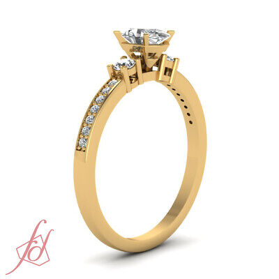 GIA Certified Oval Shaped VS1 Diamond Trinity Engagement Ring Pave Set 0.65 Ct 2