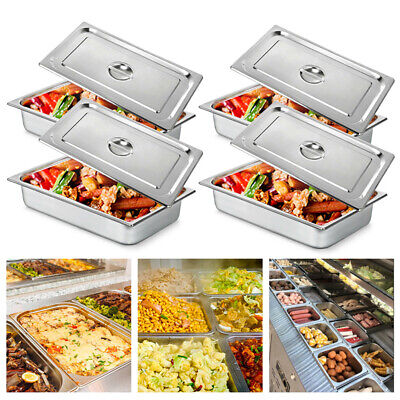 4 Pack 4deep Full Size Stainless Steel Steam Table Pans W Lids Hotel Food Prep