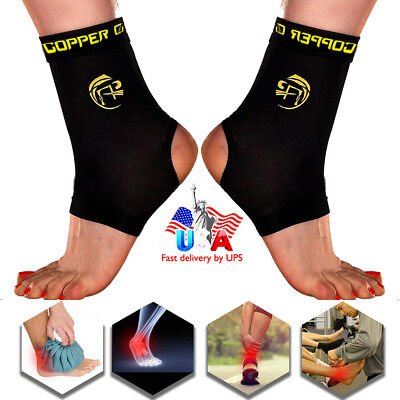 NEW Ankle Support Brace Copper CFR Compression Sleeve Joint Fit Foot Protector