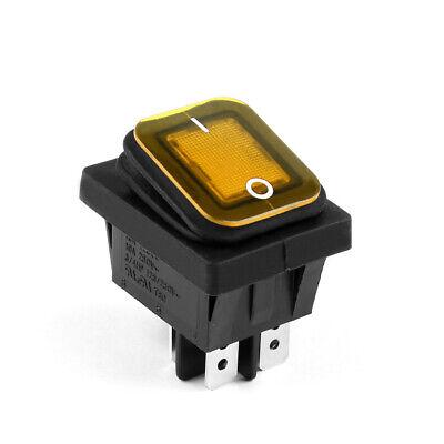 Waterproof Rocker Switch Yellow Led 4-pin Onoff 16a125vac Rectangular