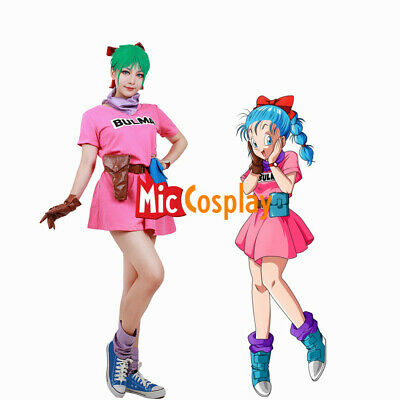 Dragon Ball Z Bulma Bunny Pink Dress Cosplay Costume Women Girl For Sale