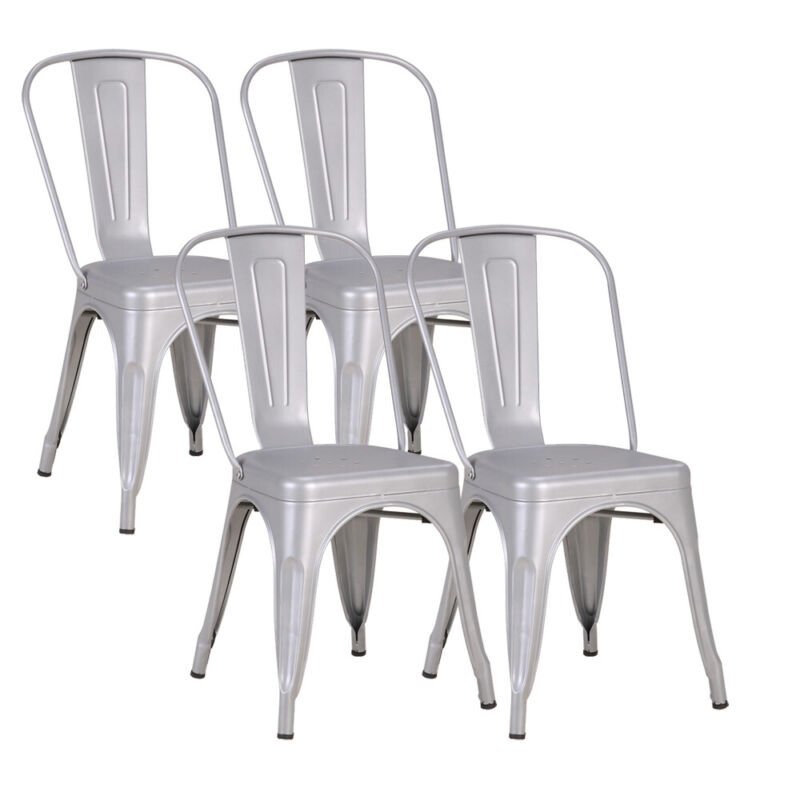 4PCS Dining Side Chair Back Chair Stackable Metal Bar Stool Industrial Style